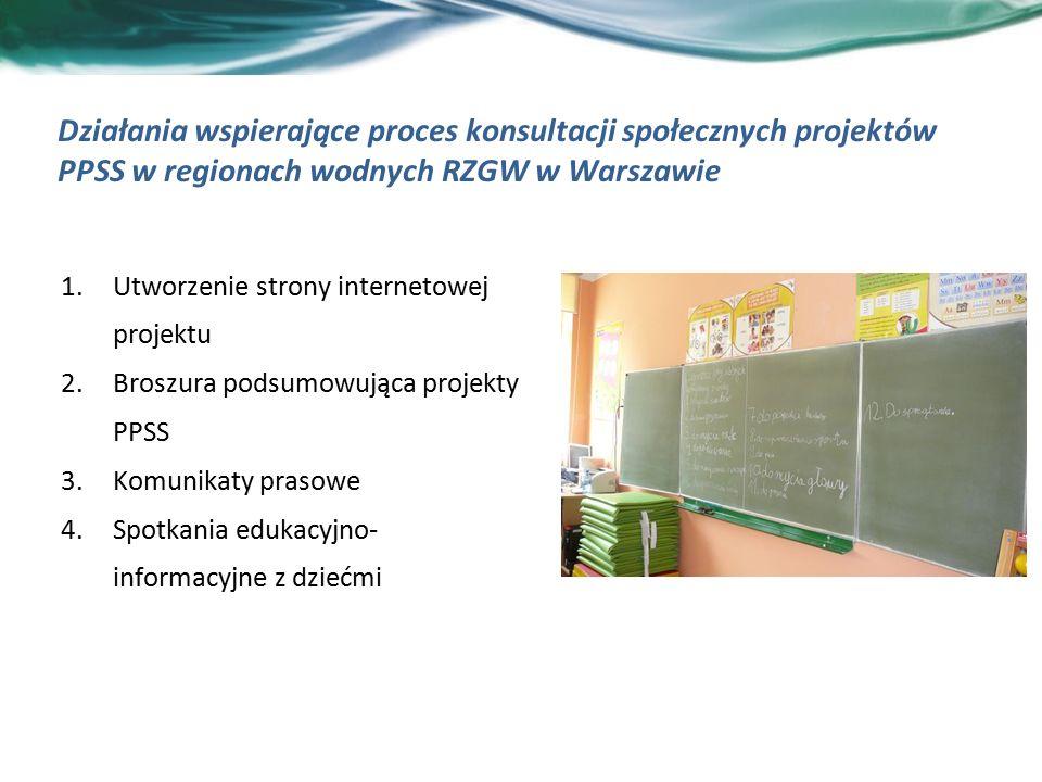 Działania wspierające proces konsultacji społecznych projektów PPSS w regionach wodnych RZGW w Warszawie 1.Utworzenie strony internetowej projektu 2.Broszura podsumowująca projekty PPSS 3.Komunikaty prasowe 4.Spotkania edukacyjno- informacyjne z dziećmi