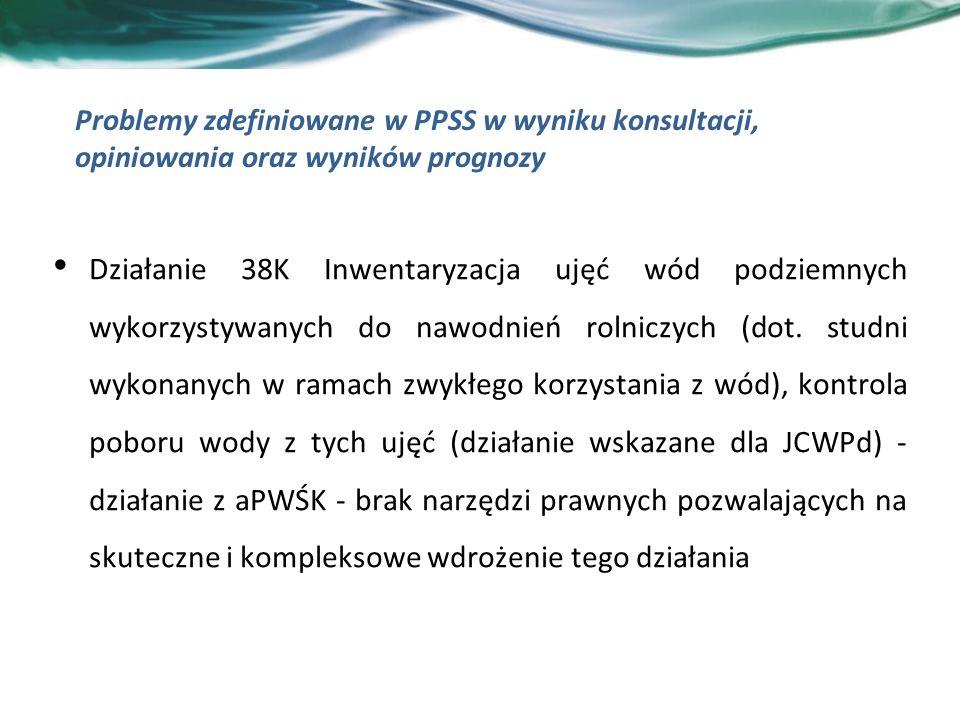 Problemy zdefiniowane w PPSS w wyniku konsultacji, opiniowania oraz wyników prognozy Działanie 38K Inwentaryzacja ujęć wód podziemnych wykorzystywanych do nawodnień rolniczych (dot.