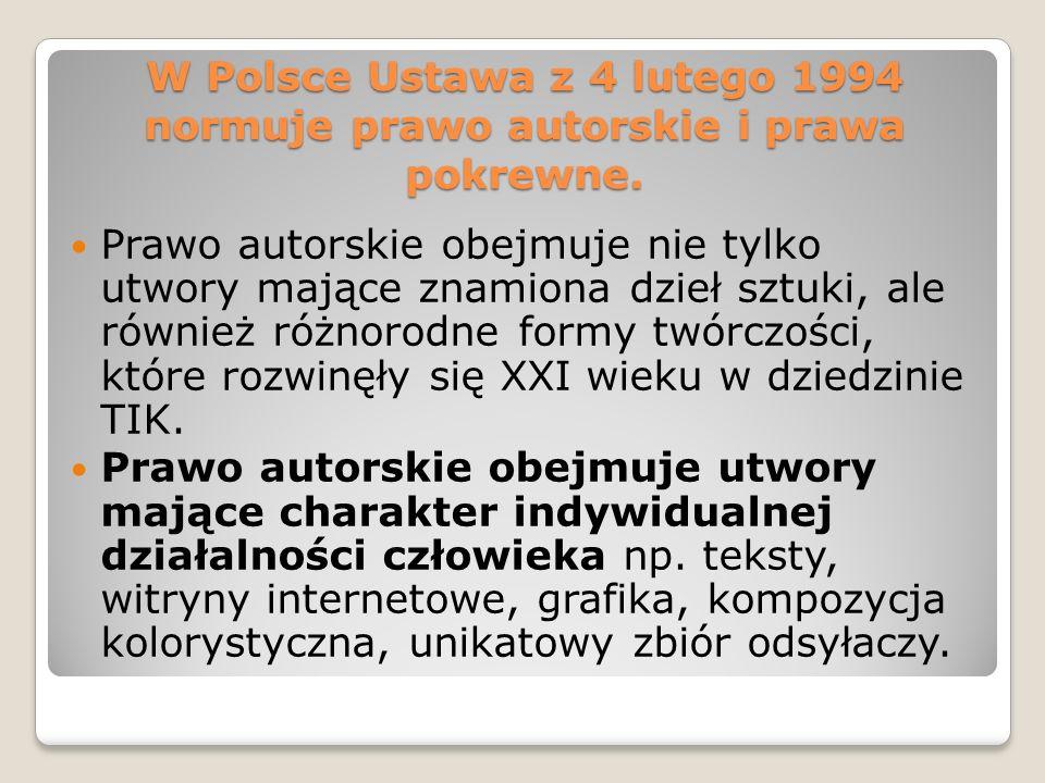 W Polsce Ustawa z 4 lutego 1994 normuje prawo autorskie i prawa pokrewne.