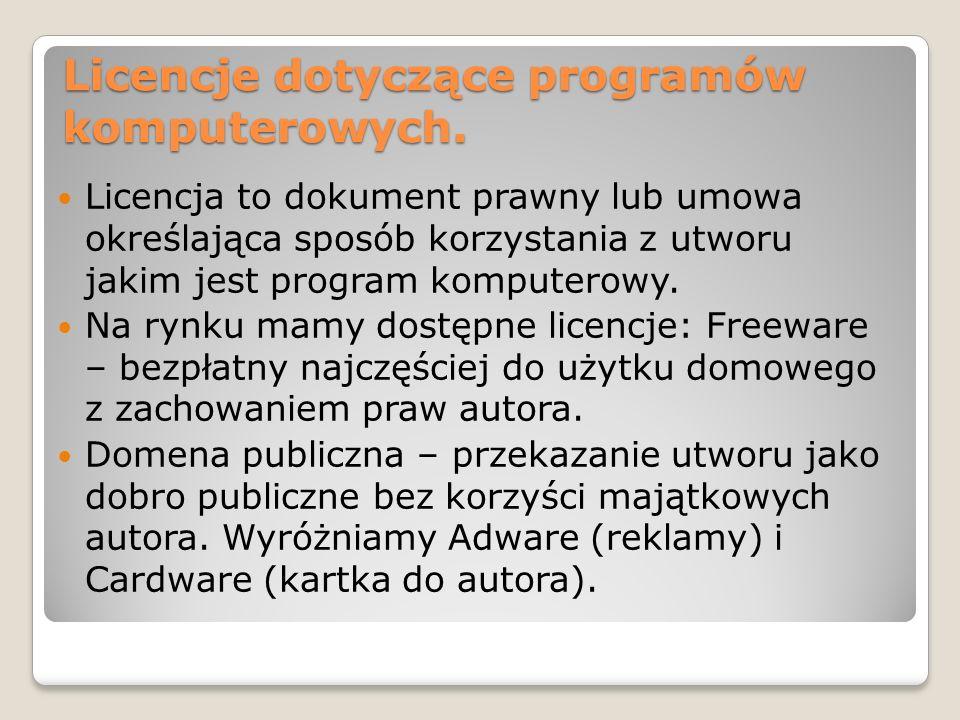 Licencje dotyczące programów komputerowych.