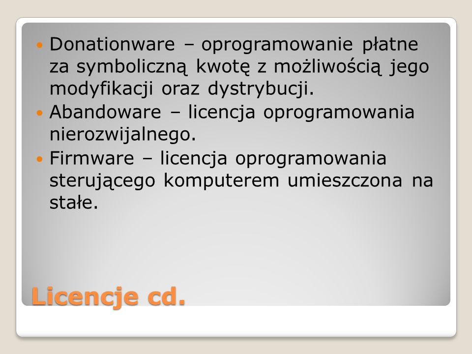Licencje jednostanowiskowe lub grupowe – zezwala na instalacje programu na jednym lub kilku stanowiskach komputerowych.