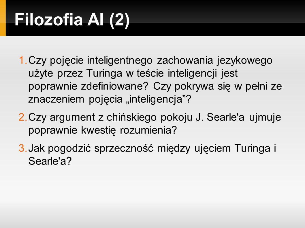 Filozofia AI (2) 1.Czy pojęcie inteligentnego zachowania jezykowego użyte przez Turinga w teście inteligencji jest poprawnie zdefiniowane.