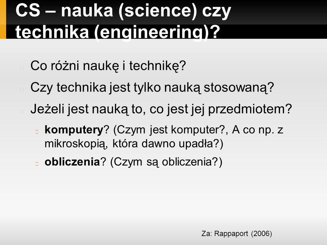 CS – nauka (science) czy technika (engineering). Co różni naukę i technikę.