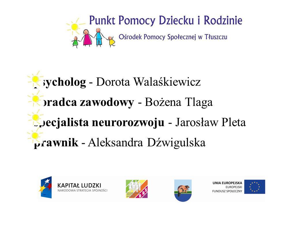 psycholog - Dorota Walaśkiewicz doradca zawodowy - Bożena Tlaga specjalista neurorozwoju - Jarosław Pleta prawnik - Aleksandra Dźwigulska