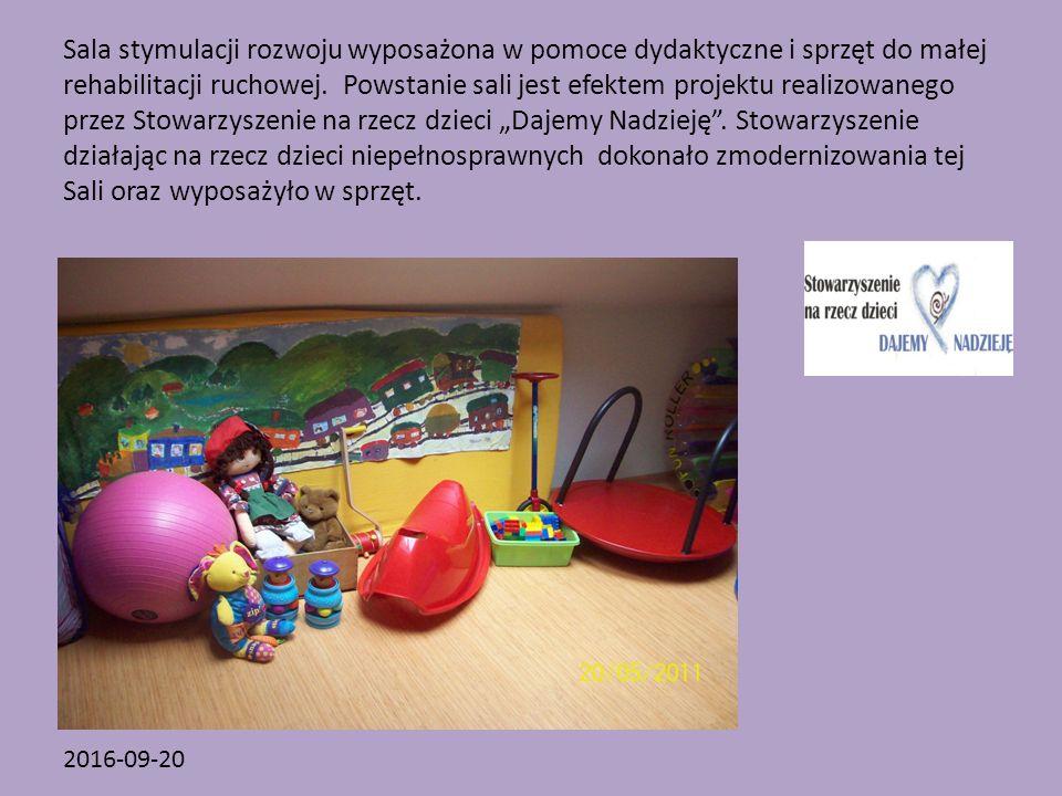 2016-09-20 Sala stymulacji rozwoju wyposażona w pomoce dydaktyczne i sprzęt do małej rehabilitacji ruchowej.