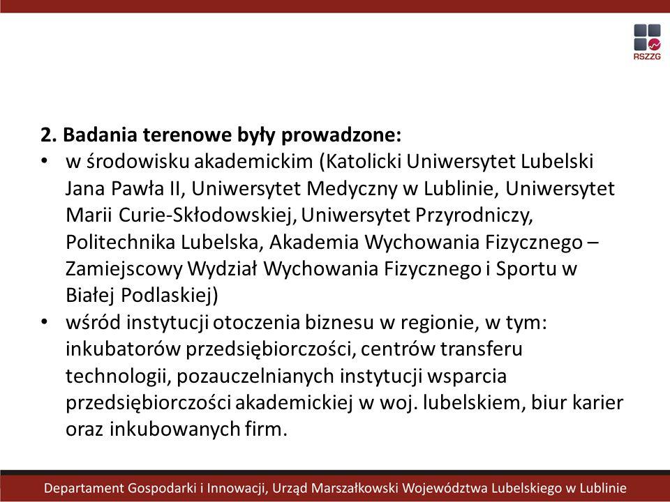 2. Badania terenowe były prowadzone: w środowisku akademickim (Katolicki Uniwersytet Lubelski Jana Pawła II, Uniwersytet Medyczny w Lublinie, Uniwersy