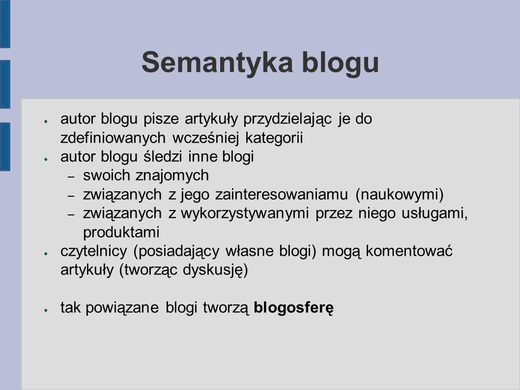 Semantyka blogu ● autor blogu pisze artykuły przydzielając je do zdefiniowanych wcześniej kategorii ● autor blogu śledzi inne blogi – swoich znajomych – związanych z jego zainteresowaniamu (naukowymi) – związanych z wykorzystywanymi przez niego usługami, produktami ● czytelnicy (posiadający własne blogi) mogą komentować artykuły (tworząc dyskusję) ● tak powiązane blogi tworzą blogosferę