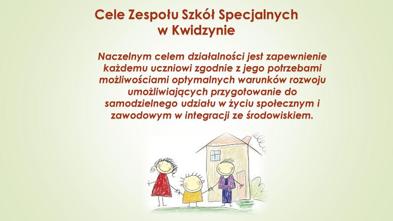 Cele Zespołu Szkół Specjalnych w Kwidzynie Naczelnym celem działalności jest zapewnienie każdemu uczniowi zgodnie z jego potrzebami możliwościami opty