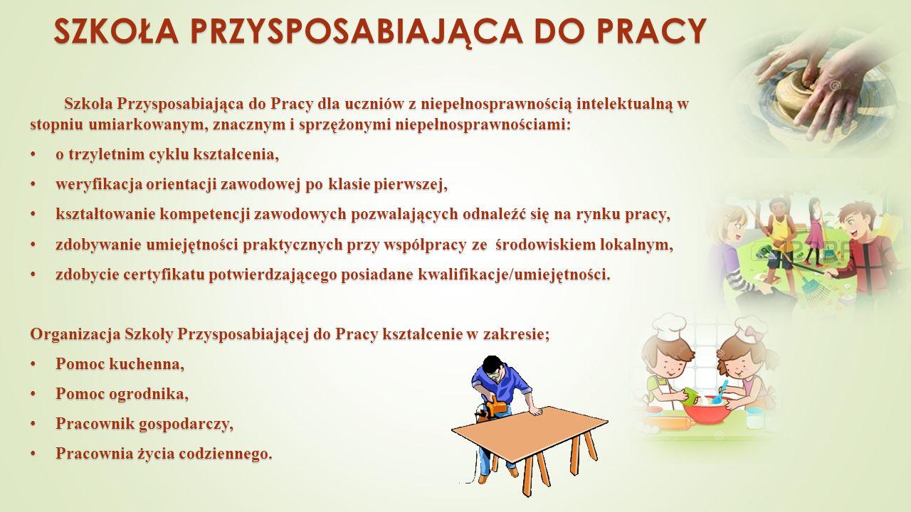 SZKOŁA PRZYSPOSABIAJĄCA DO PRACY Szkoła Przysposabiająca do Pracy dla uczniów z niepełnosprawnością intelektualną w stopniu umiarkowanym, znacznym i sprzężonymi niepełnosprawnościami: o trzyletnim cyklu kształcenia, o trzyletnim cyklu kształcenia, weryfikacja orientacji zawodowej po klasie pierwszej, weryfikacja orientacji zawodowej po klasie pierwszej, kształtowanie kompetencji zawodowych pozwalających odnaleźć się na rynku pracy, kształtowanie kompetencji zawodowych pozwalających odnaleźć się na rynku pracy, zdobywanie umiejętności praktycznych przy współpracy ze środowiskiem lokalnym, zdobywanie umiejętności praktycznych przy współpracy ze środowiskiem lokalnym, zdobycie certyfikatu potwierdzającego posiadane kwalifikacje/umiejętności.