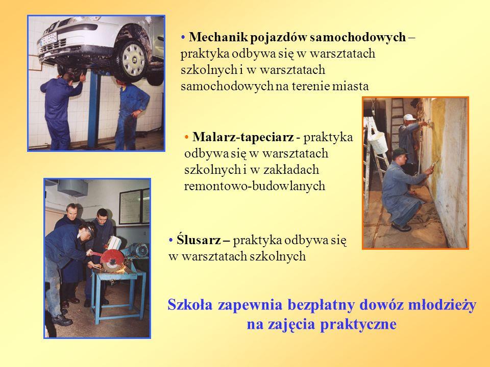Mechanik pojazdów samochodowych – praktyka odbywa się w warsztatach szkolnych i w warsztatach samochodowych na terenie miasta Malarz-tapeciarz - praktyka odbywa się w warsztatach szkolnych i w zakładach remontowo-budowlanych Ślusarz – praktyka odbywa się w warsztatach szkolnych Szkoła zapewnia bezpłatny dowóz młodzieży na zajęcia praktyczne