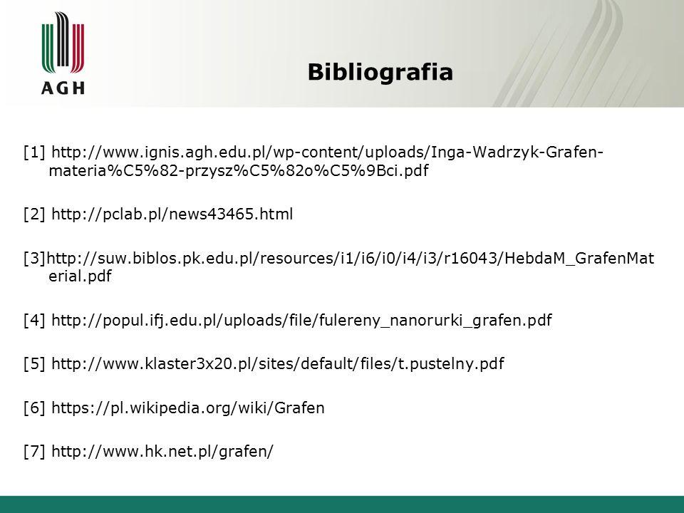 Bibliografia [1] http://www.ignis.agh.edu.pl/wp-content/uploads/Inga-Wadrzyk-Grafen- materia%C5%82-przysz%C5%82o%C5%9Bci.pdf [2] http://pclab.pl/news43465.html [3]http://suw.biblos.pk.edu.pl/resources/i1/i6/i0/i4/i3/r16043/HebdaM_GrafenMat erial.pdf [4] http://popul.ifj.edu.pl/uploads/file/fulereny_nanorurki_grafen.pdf [5] http://www.klaster3x20.pl/sites/default/files/t.pustelny.pdf [6] https://pl.wikipedia.org/wiki/Grafen [7] http://www.hk.net.pl/grafen/