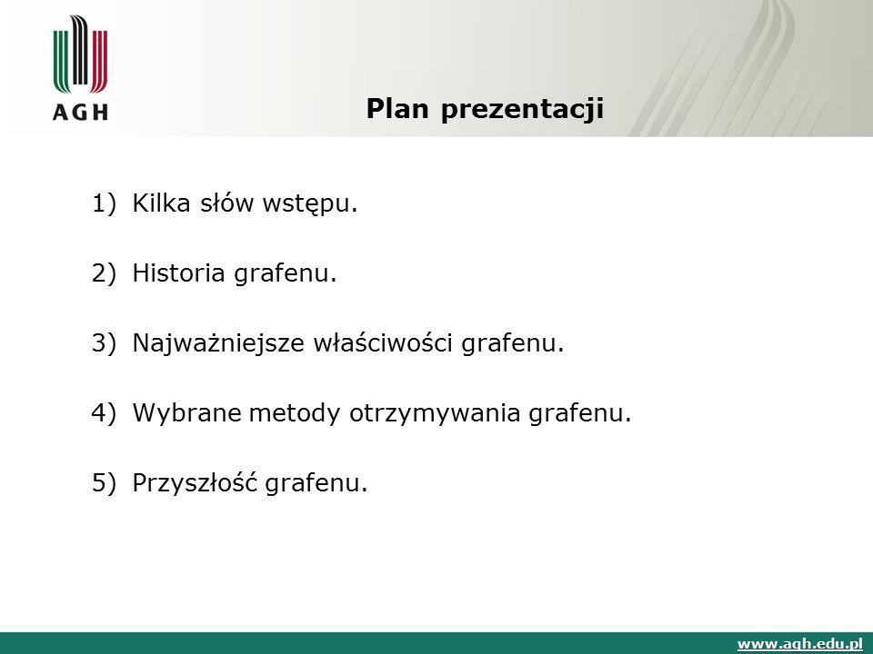 Plan prezentacji 1) Kilka słów wstępu. 2) Historia grafenu.