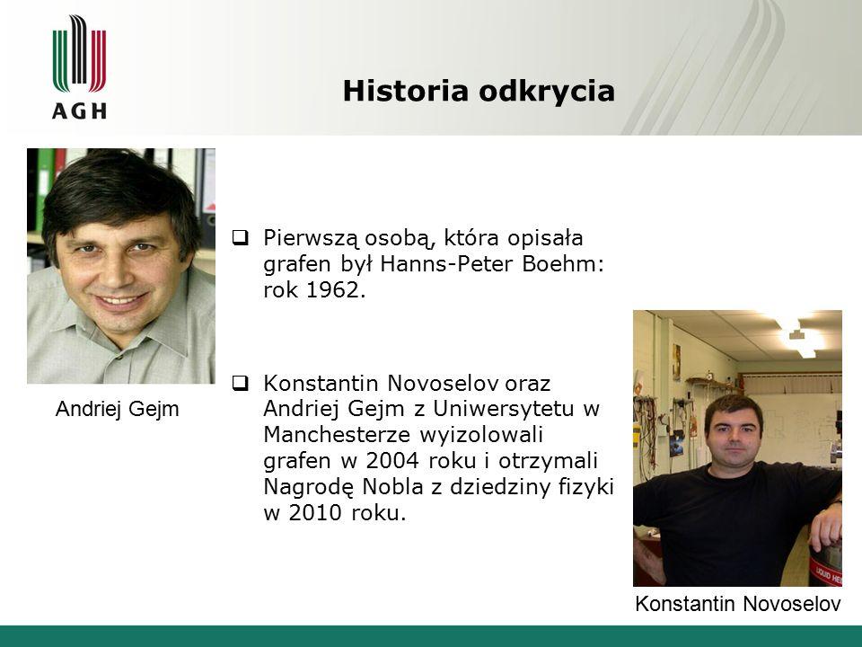 Historia odkrycia  Pierwszą osobą, która opisała grafen był Hanns-Peter Boehm: rok 1962.