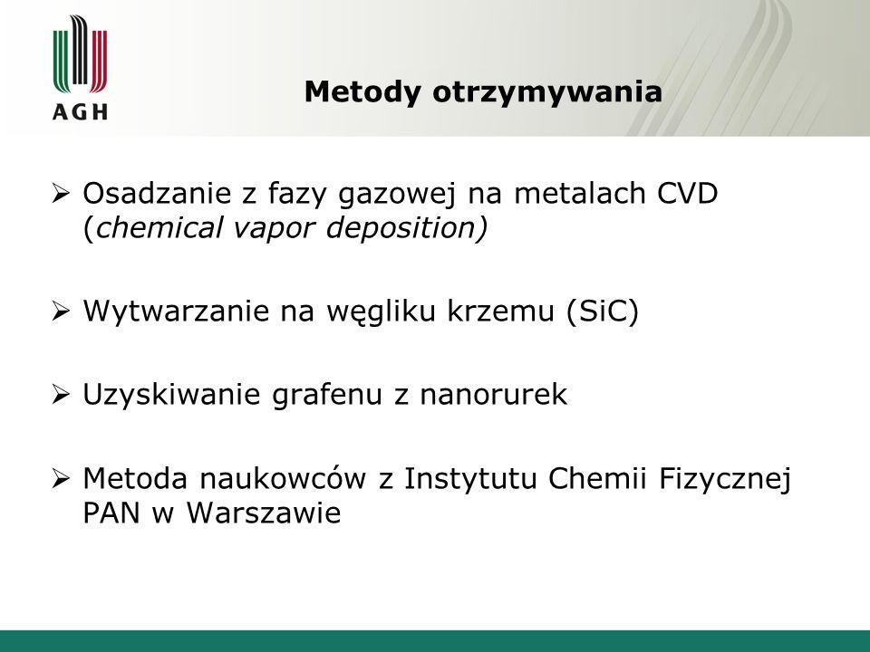 Metody otrzymywania  Osadzanie z fazy gazowej na metalach CVD (chemical vapor deposition)  Wytwarzanie na węgliku krzemu (SiC)  Uzyskiwanie grafenu z nanorurek  Metoda naukowców z Instytutu Chemii Fizycznej PAN w Warszawie