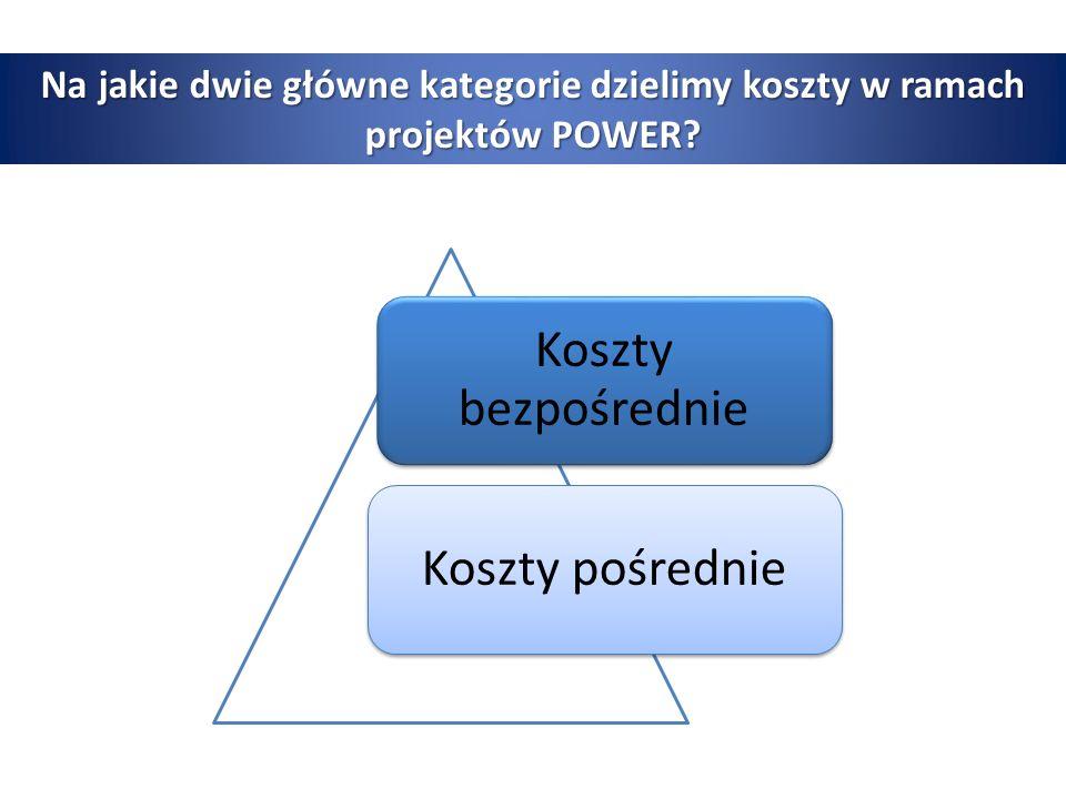 Na jakie dwie główne kategorie dzielimy koszty w ramach projektów POWER.