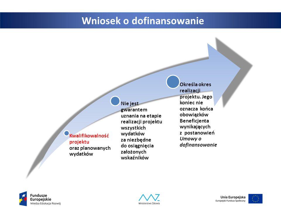 2 Wniosek o dofinansowanie Kwalifikowalność projektu oraz planowanych wydatków Nie jest gwarantem uznania na etapie realizacji projektu wszystkich wydatków za niezbędne do osiągnięcia założonych wskaźników Określa okres realizacji projektu.
