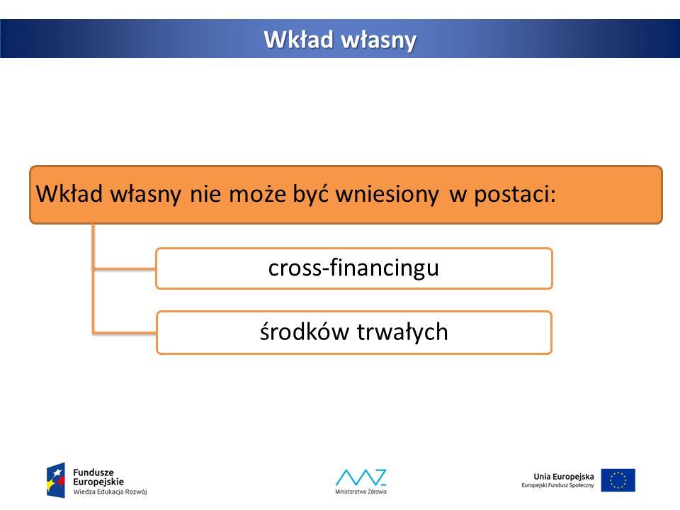 38 Wkład własny Wkład własny nie może być wniesiony w postaci: cross-financingu środków trwałych