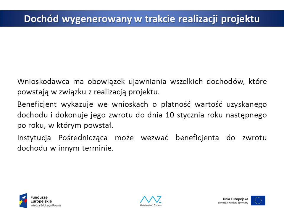 42 Dochód wygenerowany w trakcie realizacji projektu Wnioskodawca ma obowiązek ujawniania wszelkich dochodów, które powstają w związku z realizacją projektu.