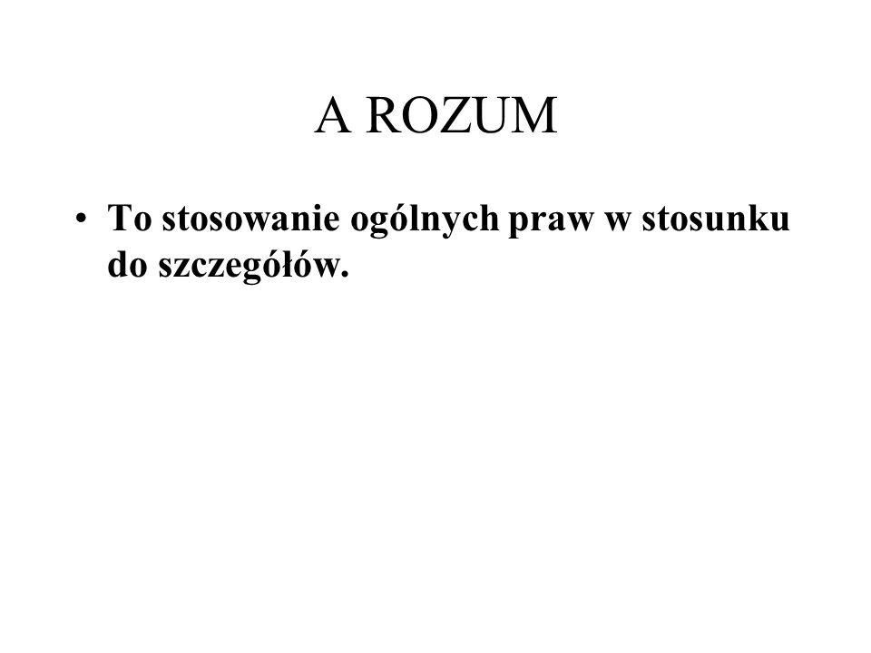 A ROZUM To stosowanie ogólnych praw w stosunku do szczegółów.