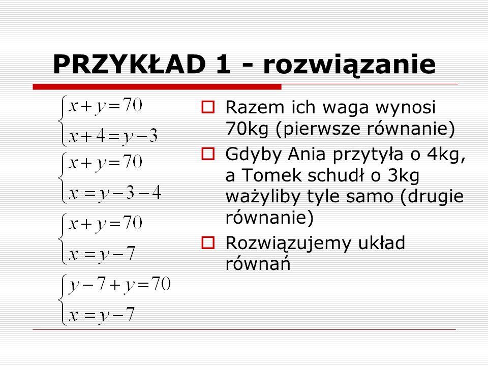 PRZYKŁAD 1 - rozwiązanie  Razem ich waga wynosi 70kg (pierwsze równanie)  Gdyby Ania przytyła o 4kg, a Tomek schudł o 3kg ważyliby tyle samo (drugie równanie)  Rozwiązujemy układ równań