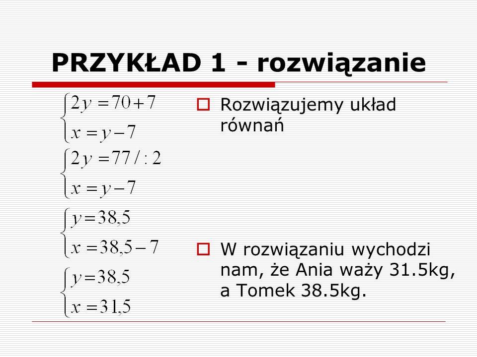 PRZYKŁAD 1 - rozwiązanie  Rozwiązujemy układ równań  W rozwiązaniu wychodzi nam, że Ania waży 31.5kg, a Tomek 38.5kg.