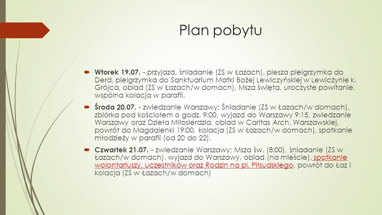 Plan pobytu  Wtorek 19.07.