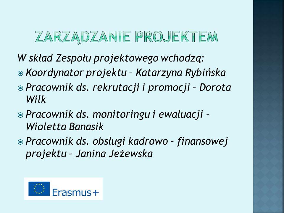 W skład Zespołu projektowego wchodzą:  Koordynator projektu – Katarzyna Rybińska  Pracownik ds. rekrutacji i promocji – Dorota Wilk  Pracownik ds.