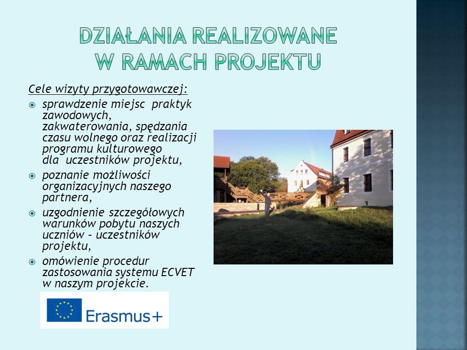 Cele wizyty przygotowawczej:  sprawdzenie miejsc praktyk zawodowych, zakwaterowania, spędzania czasu wolnego oraz realizacji programu kulturowego dla