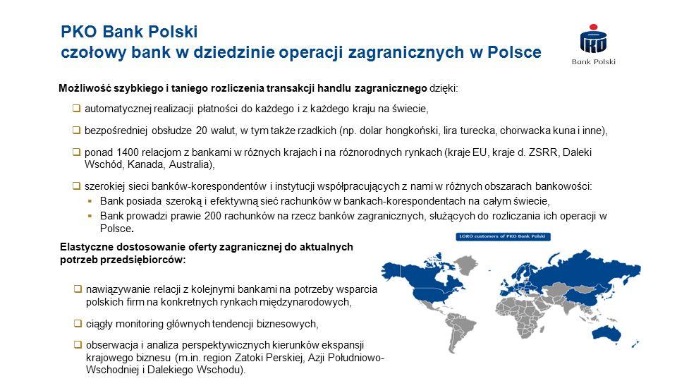 PKO Bank Polski czołowy bank w dziedzinie operacji zagranicznych w Polsce Możliwość szybkiego i taniego rozliczenia transakcji handlu zagranicznego dzięki:  automatycznej realizacji płatności do każdego i z każdego kraju na świecie,  bezpośredniej obsłudze 20 walut, w tym także rzadkich (np.