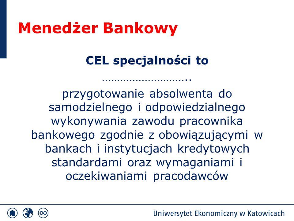 Menedżer Bankowy Cele specjalności a przedmioty specjalnościowe Cel specjalnościPrzedmioty dla specjalności wzbogacenie wiedzy z zakresu kierowania komórkami i jednostkami organizacyjnymi banku rozwijanie umiejętności wykorzystania technik i narzędzi zarządzania bankiem doskonalenie kompetencji społecznych związanych z zarządzaniem zespołami pracowniczymi Zarządzanie aktywami i pasywami banku Sieć bezpieczeństwa finansowego Zarządzanie zasobami ludzkimi Regulacje w działalności bankowej Analiza instrumentów finansowych Ocena efektywności banku Konkurencja w sektorze finansowym