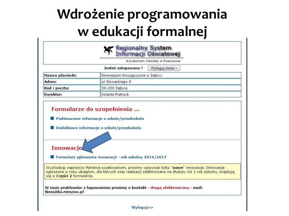 Wdrożenie programowania w edukacji formalnej