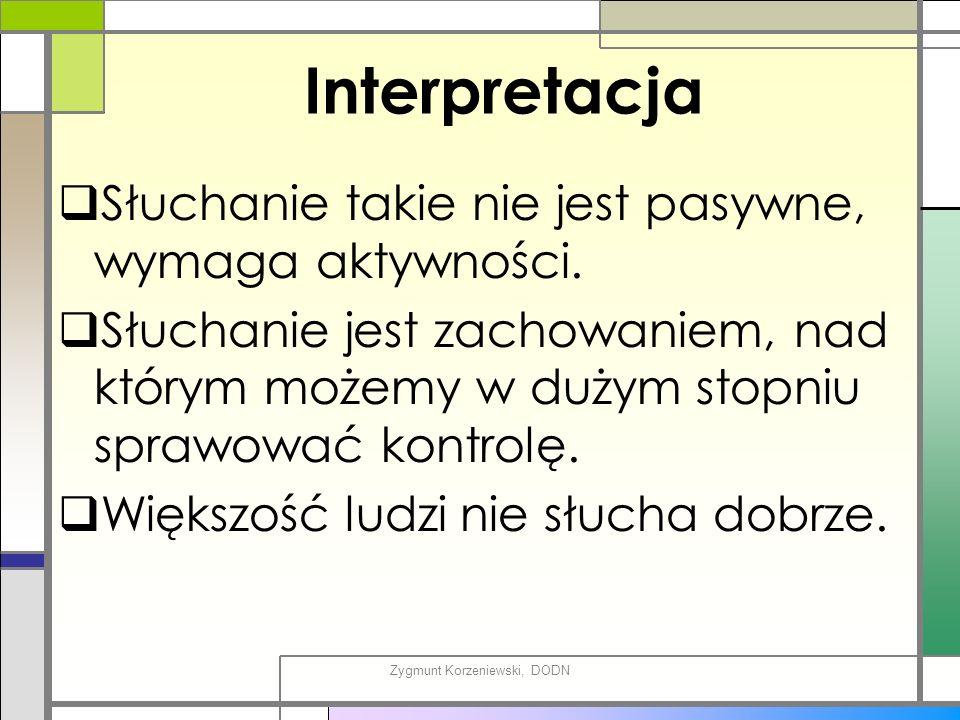 Interpretacja  Słuchanie takie nie jest pasywne, wymaga aktywności.