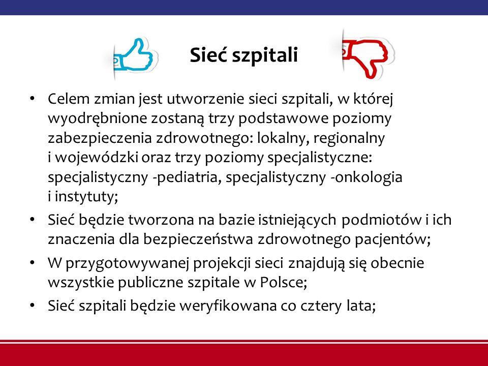 Sieć szpitali Celem zmian jest utworzenie sieci szpitali, w której wyodrębnione zostaną trzy podstawowe poziomy zabezpieczenia zdrowotnego: lokalny, regionalny i wojewódzki oraz trzy poziomy specjalistyczne: specjalistyczny -pediatria, specjalistyczny -onkologia i instytuty; Sieć będzie tworzona na bazie istniejących podmiotów i ich znaczenia dla bezpieczeństwa zdrowotnego pacjentów; W przygotowywanej projekcji sieci znajdują się obecnie wszystkie publiczne szpitale w Polsce; Sieć szpitali będzie weryfikowana co cztery lata;