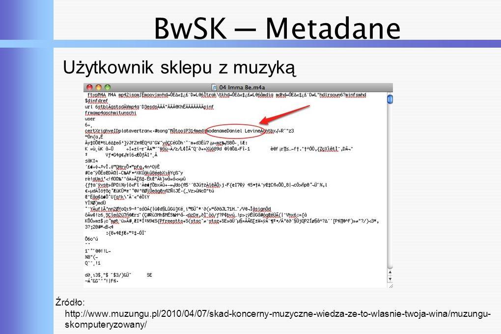 BwSK ─ Metadane Użytkownik sklepu z muzyką Źródło: http://www.muzungu.pl/2010/04/07/skad-koncerny-muzyczne-wiedza-ze-to-wlasnie-twoja-wina/muzungu- skomputeryzowany/