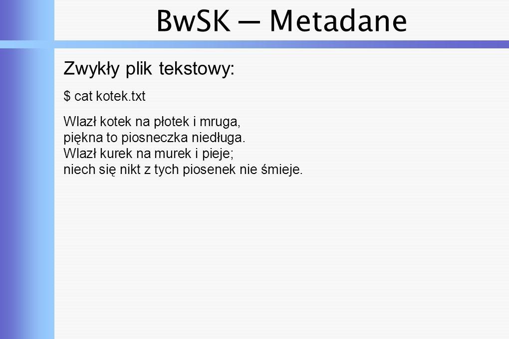 BwSK ─ Metadane Plik XML: $ cat SalesCatalogue.xml Transformers T-Shirt This is black and...