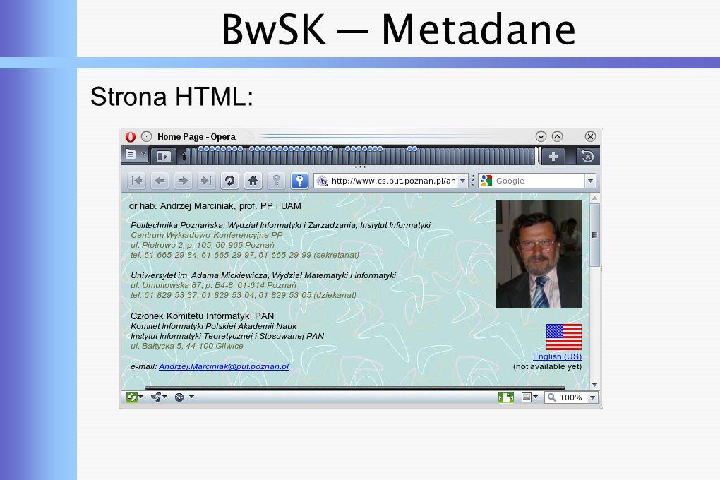BwSK ─ Metadane Plik HTML: $ head index.html Home Page