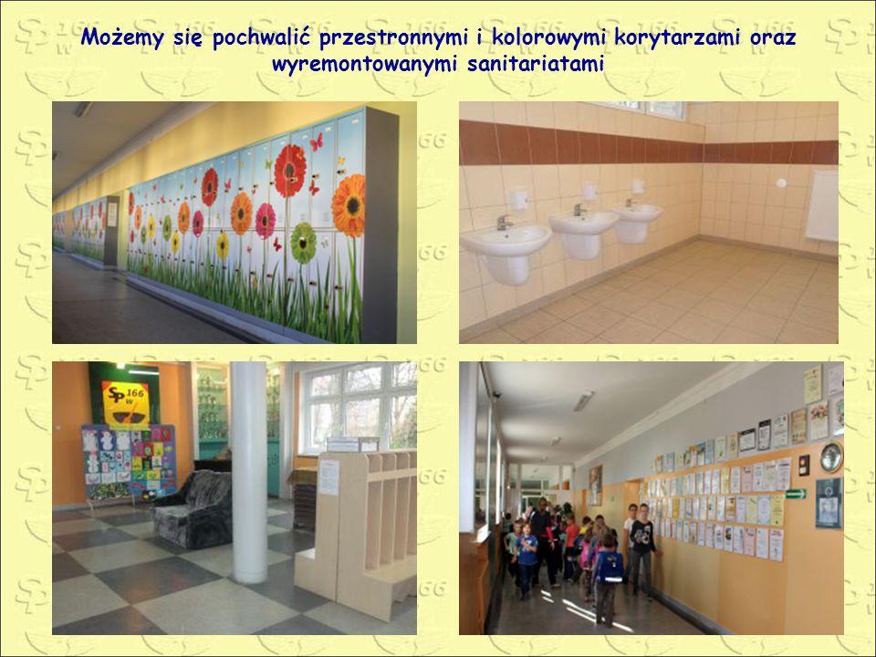 Możemy się pochwalić przestronnymi i kolorowymi korytarzami oraz wyremontowanymi sanitariatami