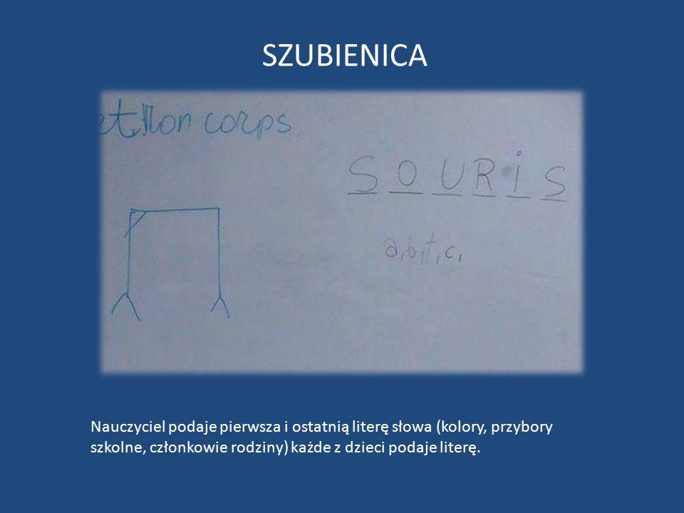SZUBIENICA Nauczyciel podaje pierwsza i ostatnią literę słowa (kolory, przybory szkolne, członkowie rodziny) każde z dzieci podaje literę.