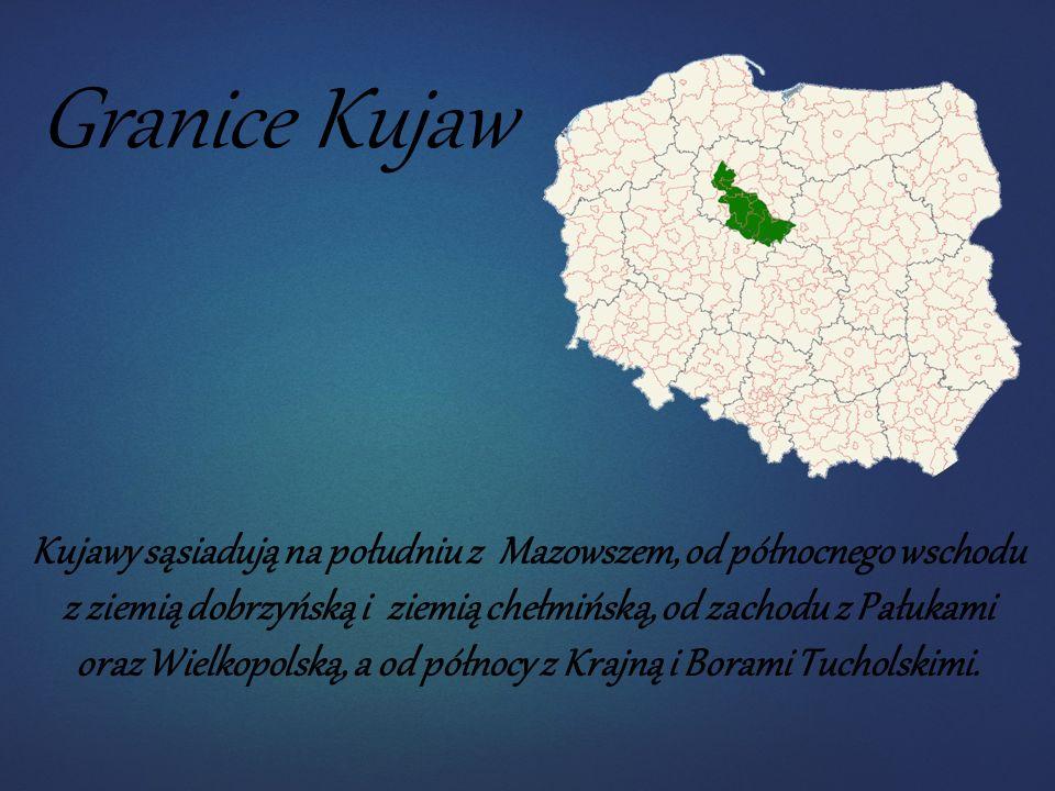 Granice Kujaw Kujawy sąsiadują na południu z Mazowszem, od północnego wschodu z ziemią dobrzyńską i ziemią chełmińską, od zachodu z Pałukami oraz Wielkopolską, a od północy z Krajną i Borami Tucholskimi.