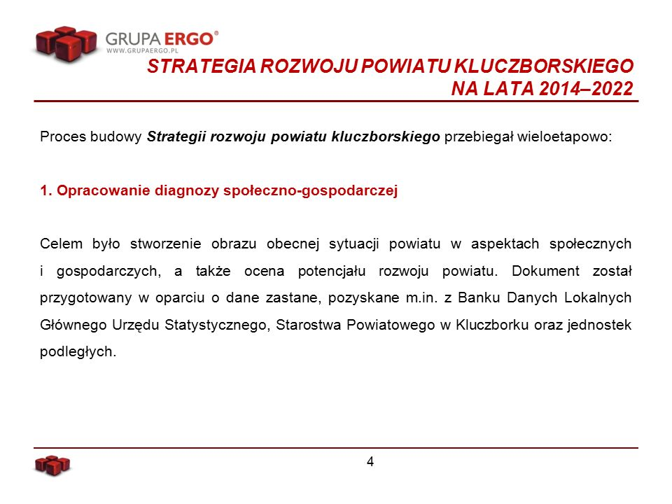 STRATEGIA ROZWOJU POWIATU KLUCZBORSKIEGO NA LATA 2014–2022 Proces budowy Strategii rozwoju powiatu kluczborskiego przebiegał wieloetapowo: 1.