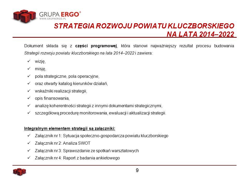 STRATEGIA ROZWOJU POWIATU KLUCZBORSKIEGO NA LATA 2014–2022 Dokument składa się z części programowej, która stanowi najważniejszy rezultat procesu budowania Strategii rozwoju powiatu kluczborskiego na lata 2014–2022 i zawiera: wizję, misję, pola strategiczne, pola operacyjne, oraz otwarty katalog kierunków działań, wskaźniki realizacji strategii, opis finansowania, analizę koherentności strategii z innymi dokumentami strategicznymi, szczegółową procedurę monitorowania, ewaluacji i aktualizacji strategii.