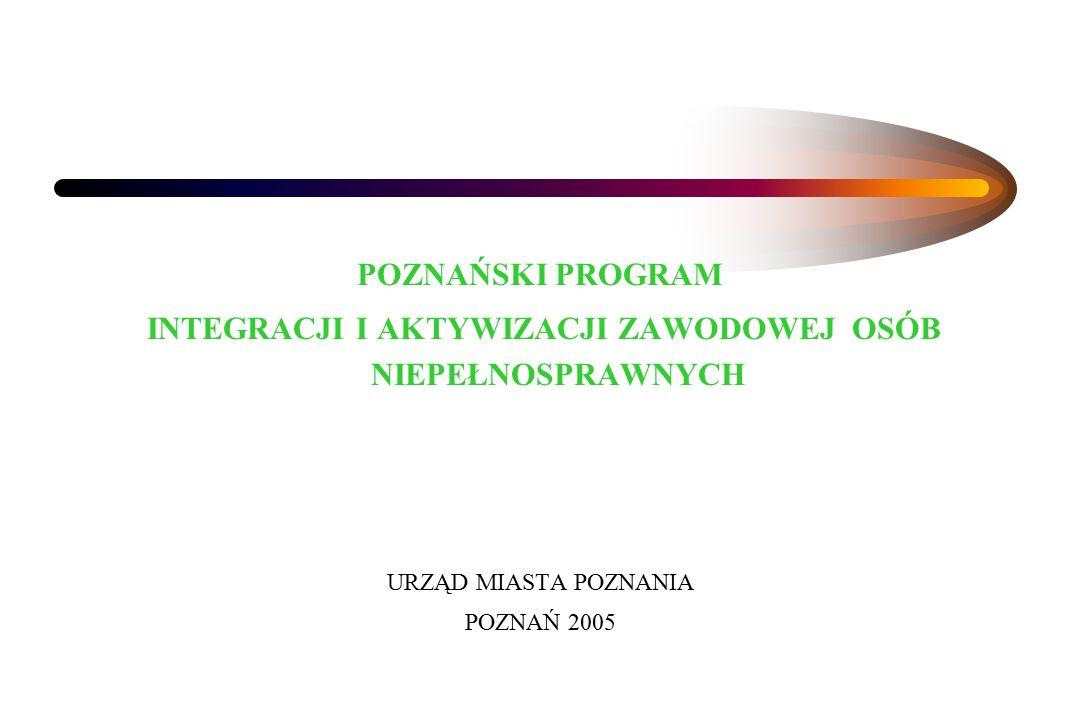 POZNAŃSKI PROGRAM INTEGRACJI I AKTYWIZACJI ZAWODOWEJ OSÓB NIEPEŁNOSPRAWNYCH URZĄD MIASTA POZNANIA POZNAŃ 2005