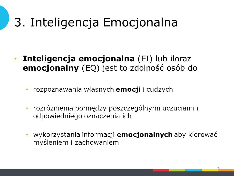 3. Inteligencja Emocjonalna Inteligencja emocjonalna (EI) lub iloraz emocjonalny (EQ) jest to zdolność osób do rozpoznawania własnych emocji i cudzych