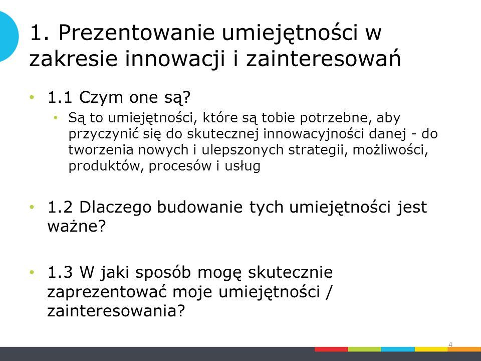 1. Prezentowanie umiejętności w zakresie innowacji i zainteresowań 1.1 Czym one są.