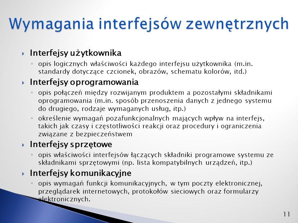  Interfejsy użytkownika ◦ opis logicznych właściwości każdego interfejsu użytkownika (m.in.