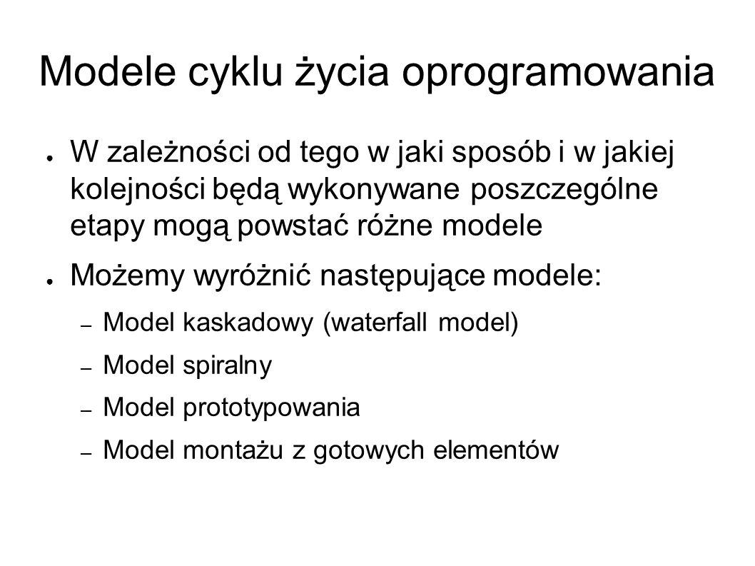 Modele cyklu życia oprogramowania ● W zależności od tego w jaki sposób i w jakiej kolejności będą wykonywane poszczególne etapy mogą powstać różne modele ● Możemy wyróżnić następujące modele: – Model kaskadowy (waterfall model) – Model spiralny – Model prototypowania – Model montażu z gotowych elementów