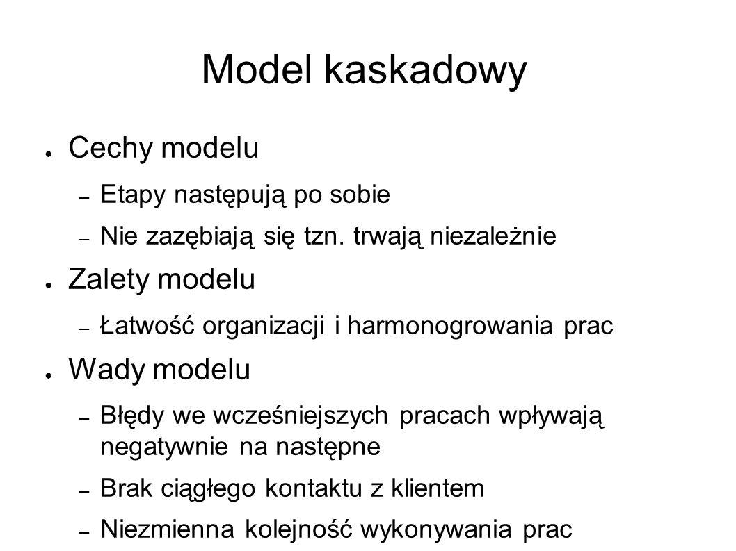Model kaskadowy ● Cechy modelu – Etapy następują po sobie – Nie zazębiają się tzn.