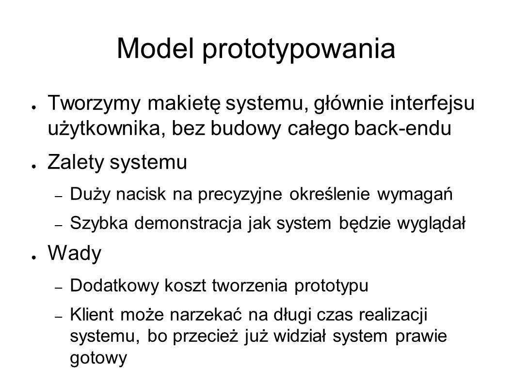 Model prototypowania ● Tworzymy makietę systemu, głównie interfejsu użytkownika, bez budowy całego back-endu ● Zalety systemu – Duży nacisk na precyzyjne określenie wymagań – Szybka demonstracja jak system będzie wyglądał ● Wady – Dodatkowy koszt tworzenia prototypu – Klient może narzekać na długi czas realizacji systemu, bo przecież już widział system prawie gotowy