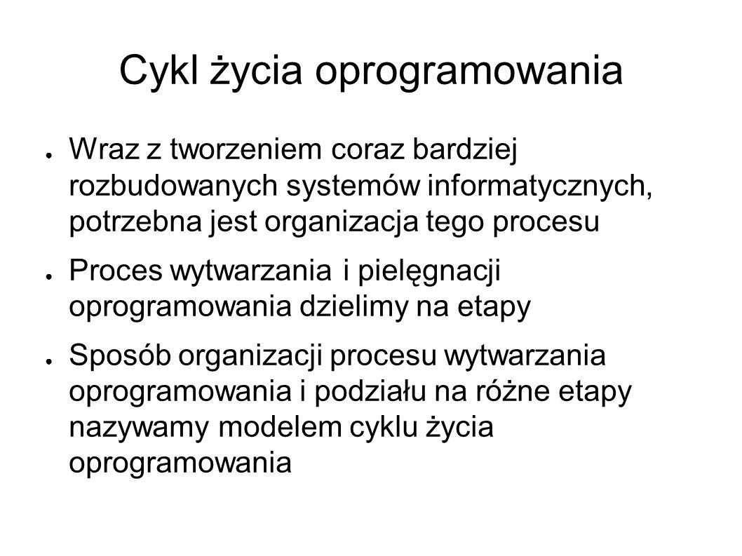 Cykl życia oprogramowania ● Wraz z tworzeniem coraz bardziej rozbudowanych systemów informatycznych, potrzebna jest organizacja tego procesu ● Proces wytwarzania i pielęgnacji oprogramowania dzielimy na etapy ● Sposób organizacji procesu wytwarzania oprogramowania i podziału na różne etapy nazywamy modelem cyklu życia oprogramowania