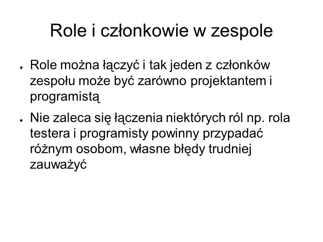 Role i członkowie w zespole ● Role można łączyć i tak jeden z członków zespołu może być zarówno projektantem i programistą ● Nie zaleca się łączenia niektórych ról np.